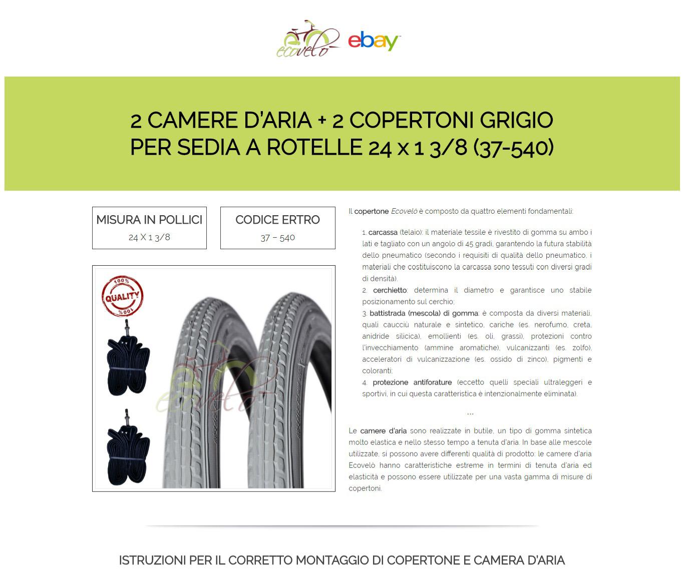 37-540 1 COPERTONE GRIGIO PER BICI BICICLETTA 24 X 1 3//8 1 CAMERA D/'ARIA