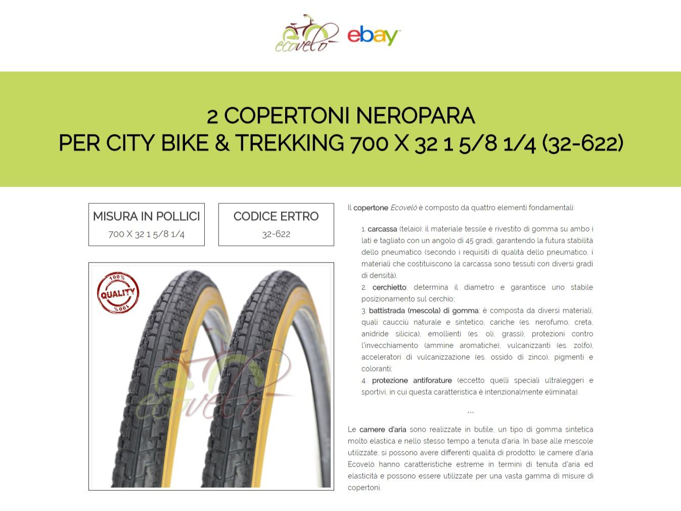 2 COPERTONI PNEUMATICI BICI BICICLETTA CITY TREKKING NERO 700 32 28 1 5//8 1//4