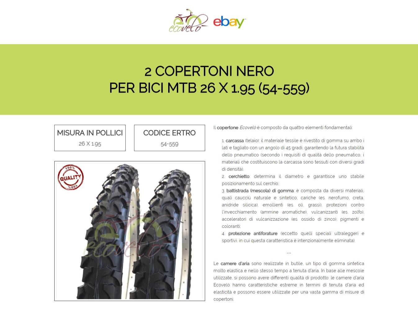 2 COPERTONI PNEUMATICI NERI BICICLETTA MTB MOUNTAIN BIKE 26 X 1.95 54-559