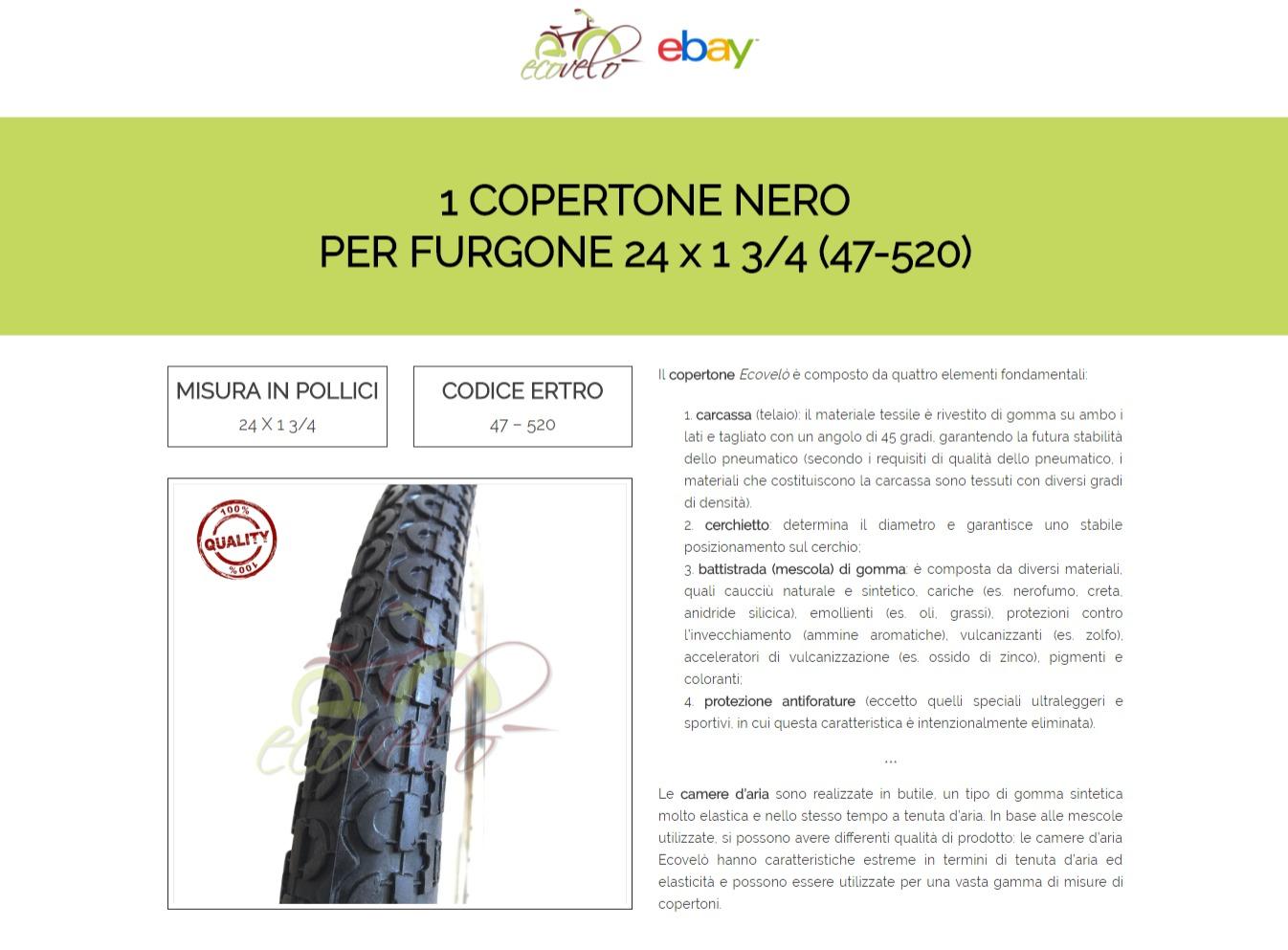 PNEUMATICO GOMME COPERTONE PER BICICLETTA  FURGONE NERO 24x1 3//4 47-520