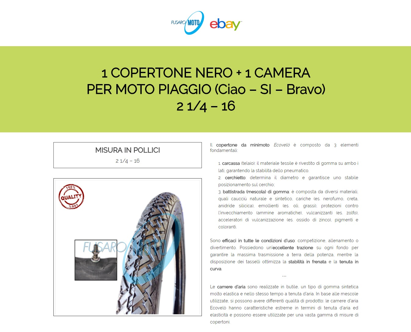 Copertone ruota pneumatico gomma 2 1 4 16 camera d for Fenster 4 16 4