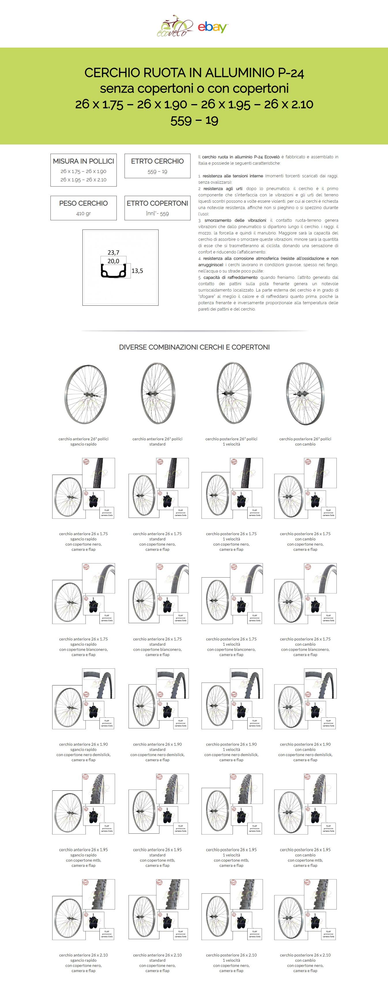 Ecovel/ò Cerchio Ruota 26 x 1.90 con COPERTONE Nero DEMISLICK Bici Bicicletta MTB Mountain Bike