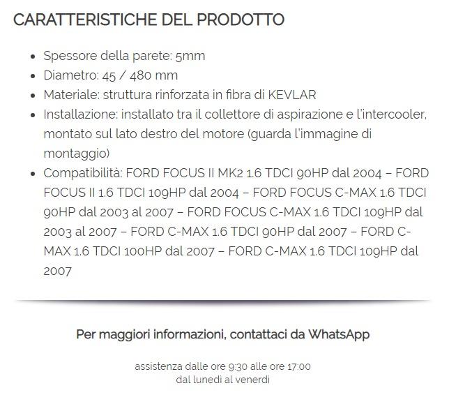 6M516K863HB 31261230-1314277 F O R D FOCUS C-MAX 1.6 TDCI MANICOTTO INTERCOOLER TUBO TURBO ARIA 1496240-6M51-6K863-HB