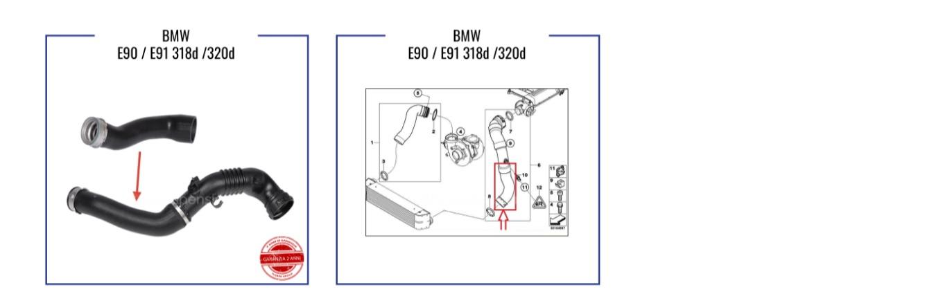 320d E90-E91 INTERCOOLER TURBO HOSE 11617805437-11617790524 BMW 318d