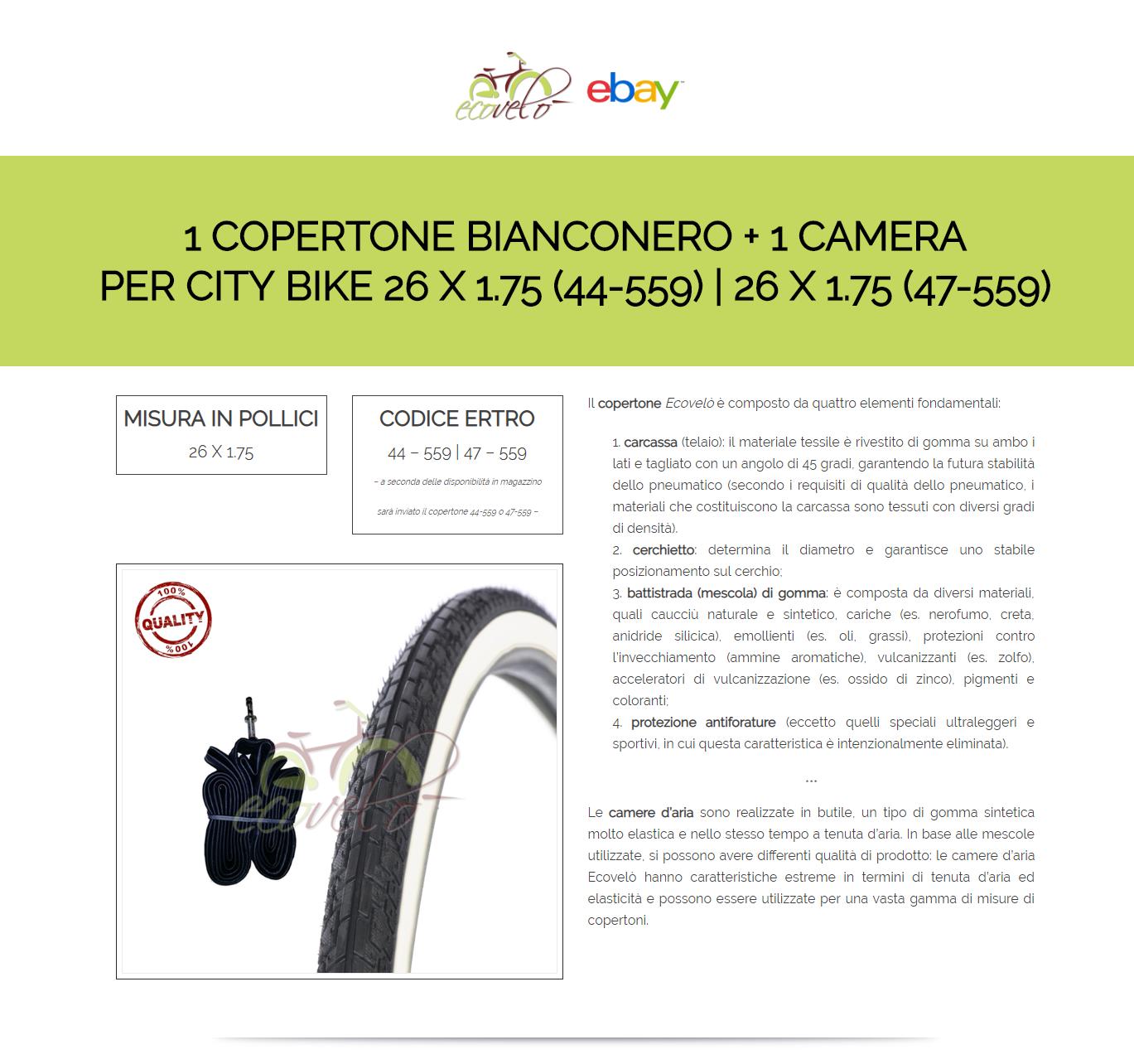 44-559 CAMERA CITY BIKE BICICLETTA 26 X 1.75 COPERTONE BIANCONERO BICI