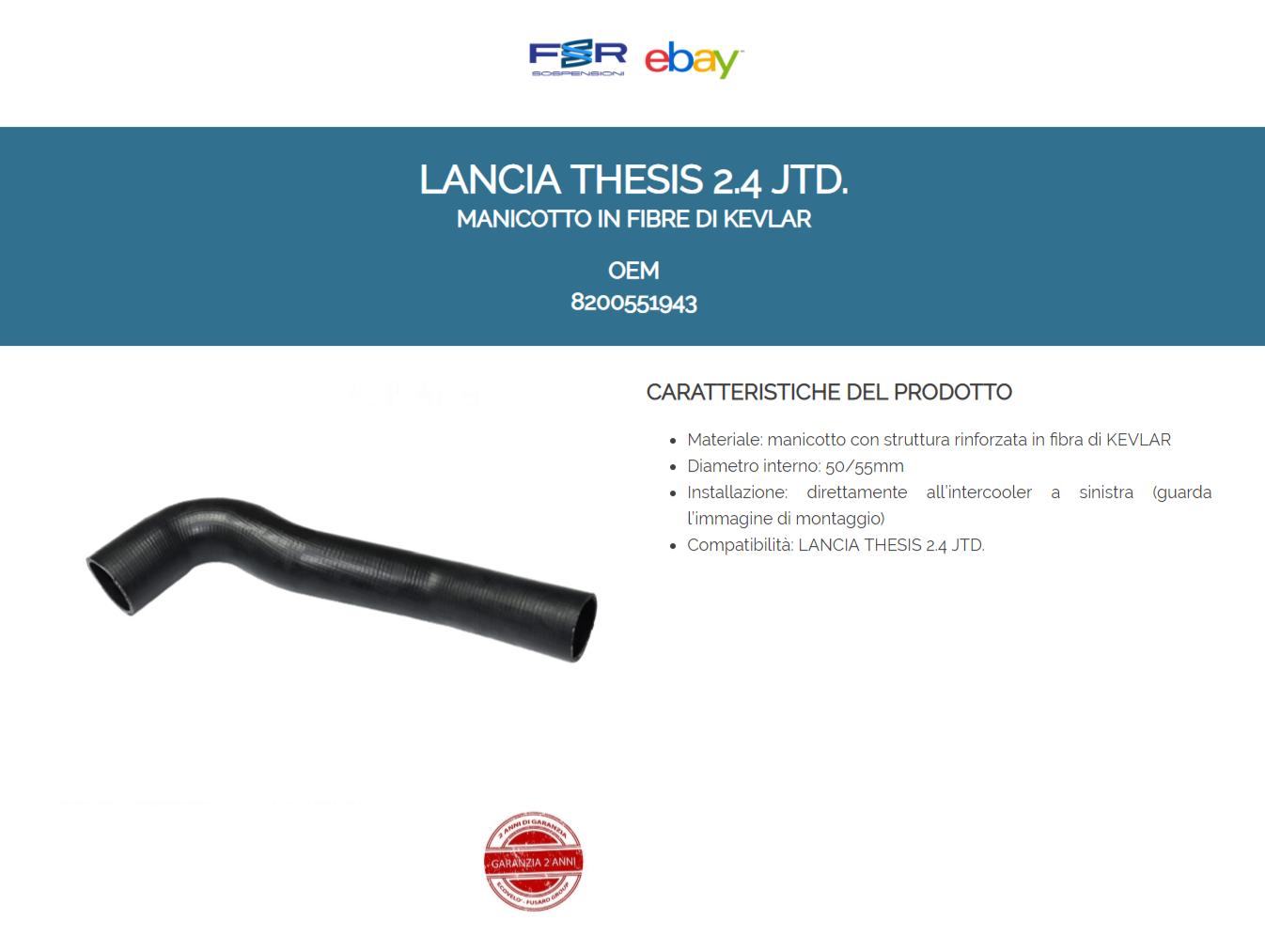 L A N C I A THESIS 2.4 JTD MANICOTTO INTERCOOLER TUBO ARIA 60688697