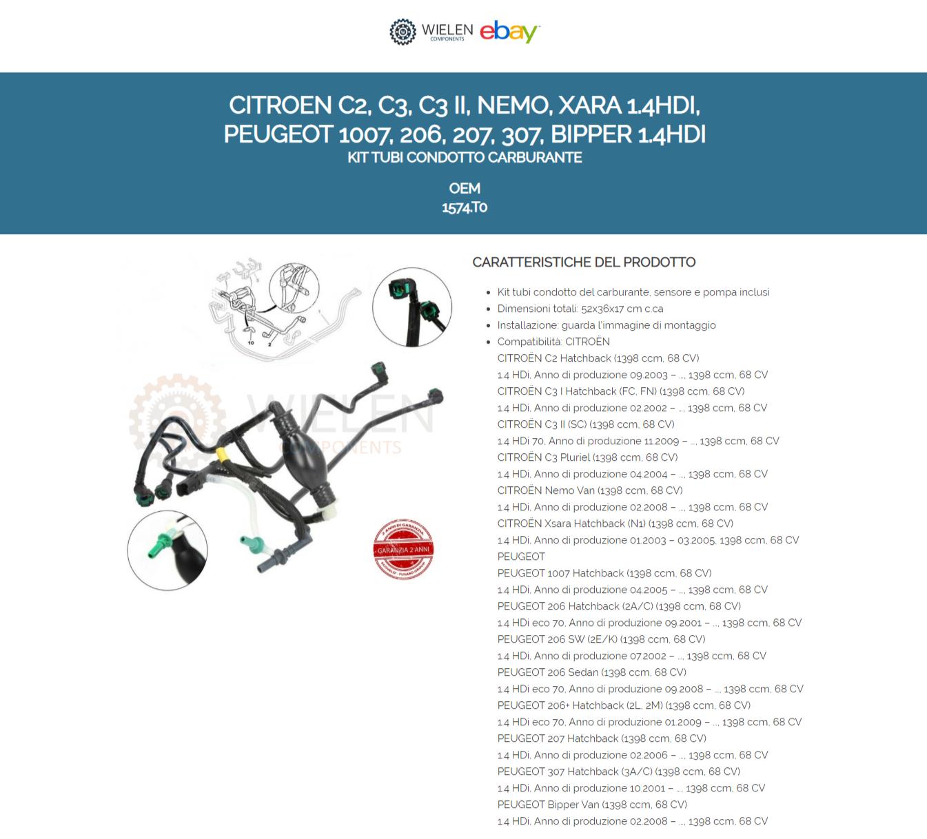 KIT TUBI CONDOTTO CARBURANTE GASOLIO SENSORE POMPA PEUGEOT 206 1.4 HDI 1574.T2